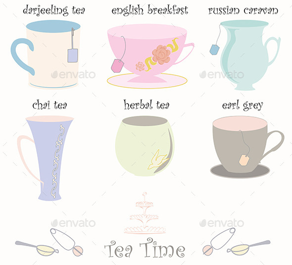 GraphicRiver Tea Cup Collection Vector 3485445