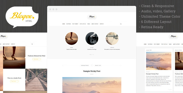 ThemeForest Blogex Minimal HTML Responsive Blog Theme 9258591