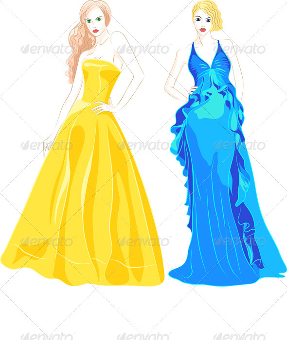 Set of Fashion Top Model in a Evening Dresses  - People Characters