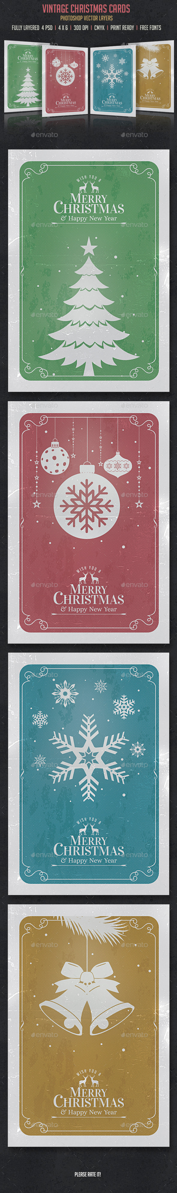 Vintage Christmas Cards Invitation