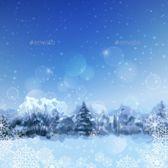 GraphicRiver Vector Watercolor Snowy Forest 9327315