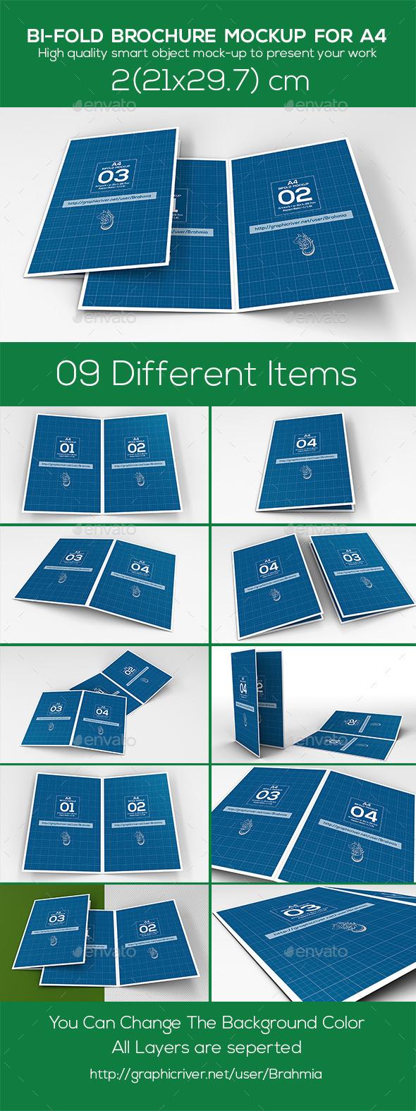 GraphicRiver Bi Fold Brochure Mockup A4 9327408