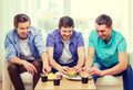 smiling friends with soda and hamburgers at home - PhotoDune Item for Sale