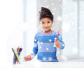 smiling little girl with pencils drawing at home - PhotoDune Item for Sale