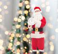 man in costume of santa claus with clock - PhotoDune Item for Sale