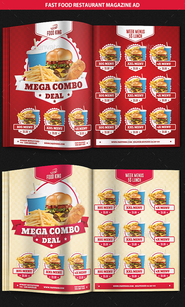 GraphicRiver Restaurant Fast Food Menu Magazine Ad 9328099