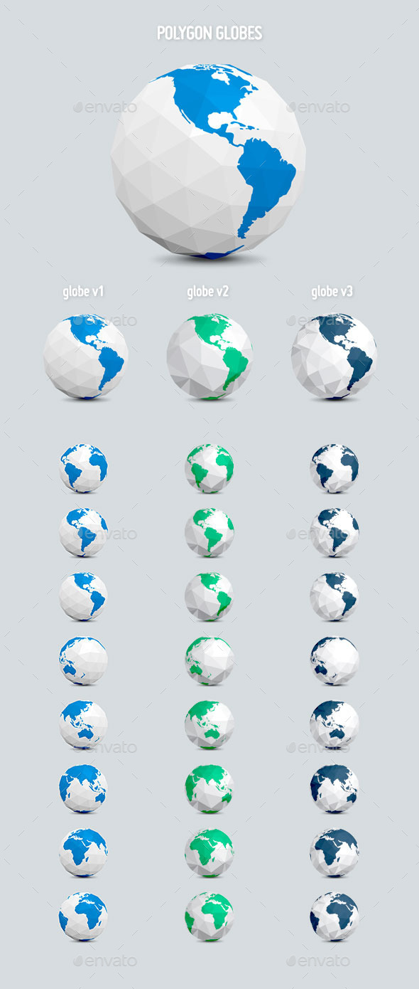GraphicRiver Polygon Earth Globes 9328116