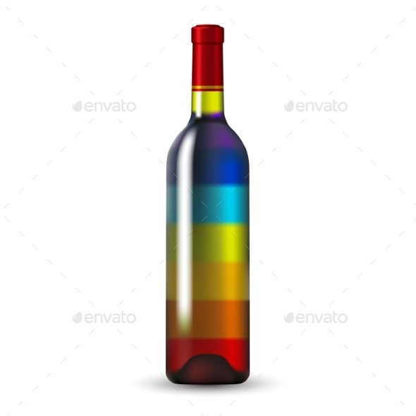 GraphicRiver Color Glass Wine Bottle 9328213