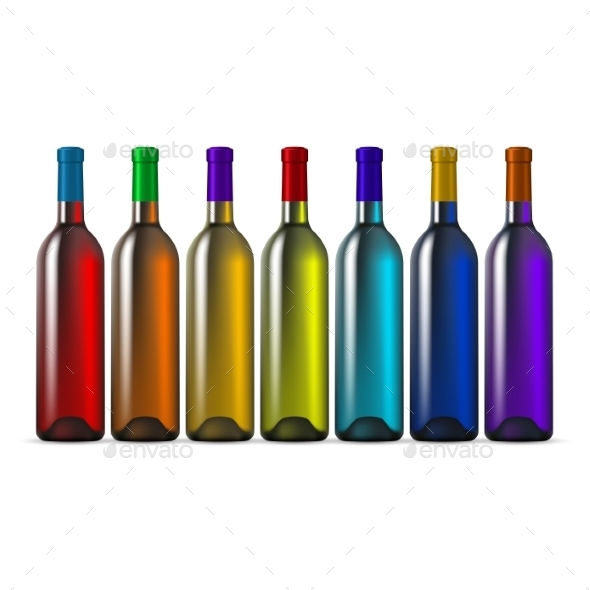 GraphicRiver Color Glass Wine Bottles 9328309