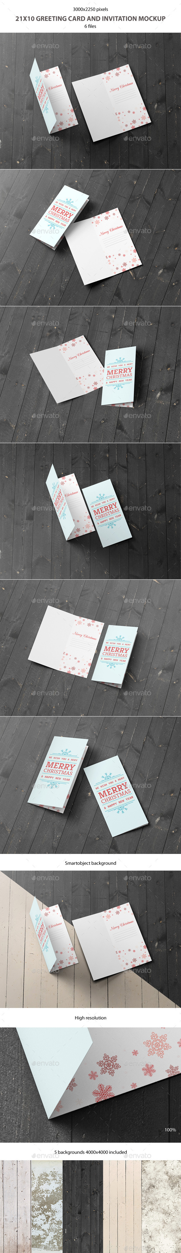 GraphicRiver 21x10 Greeting Card and Invitation Mockup 9296208