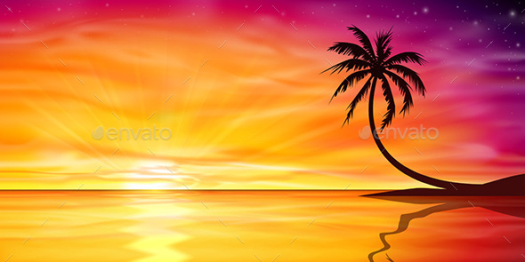 GraphicRiver Sunset Sunrise with Palm Tree 9328839