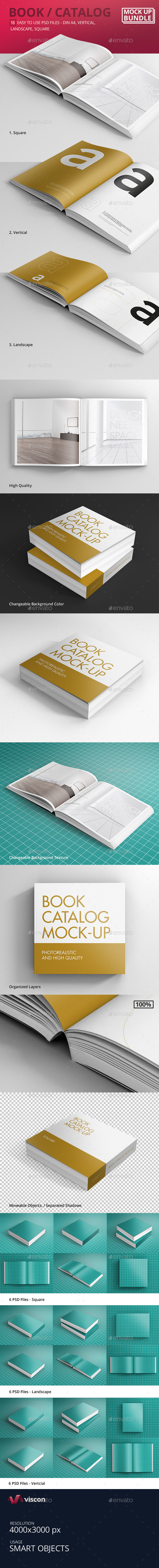 GraphicRiver Book Catalog Mock-Ups Bundle 9329110
