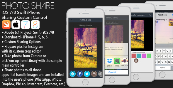 CodeCanyon PHOTO SHARE iOS Custom sharing control Swift 9329112