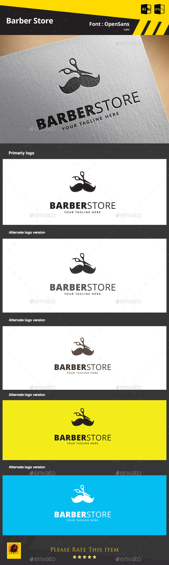 GraphicRiver Barber Store Logo Template 9329131