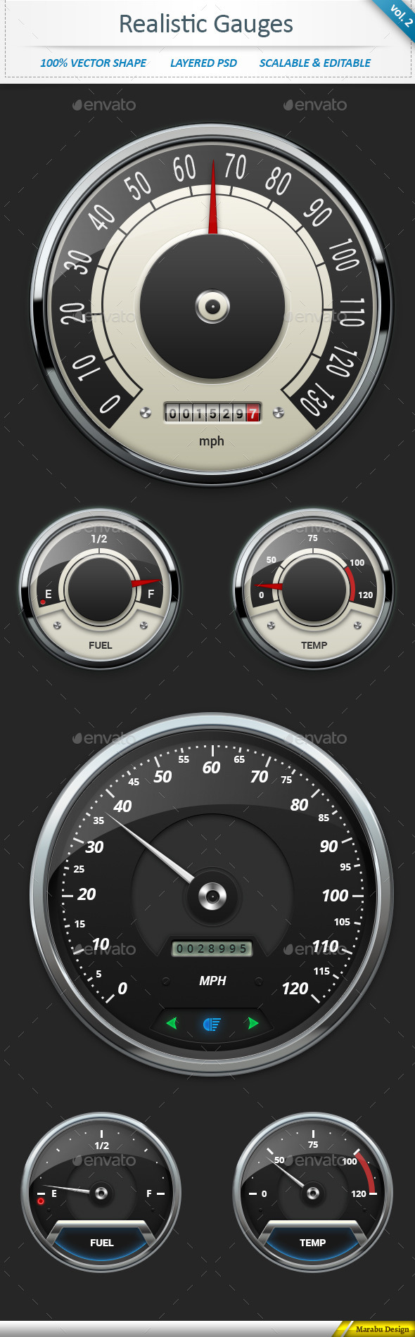 Realistic Car Gauges vol 2