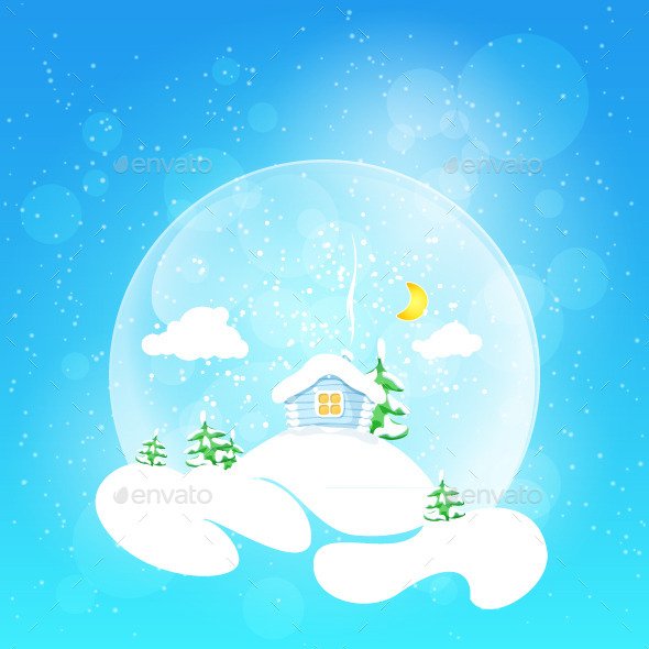 GraphicRiver House with Moon and Fir Tree 9329365