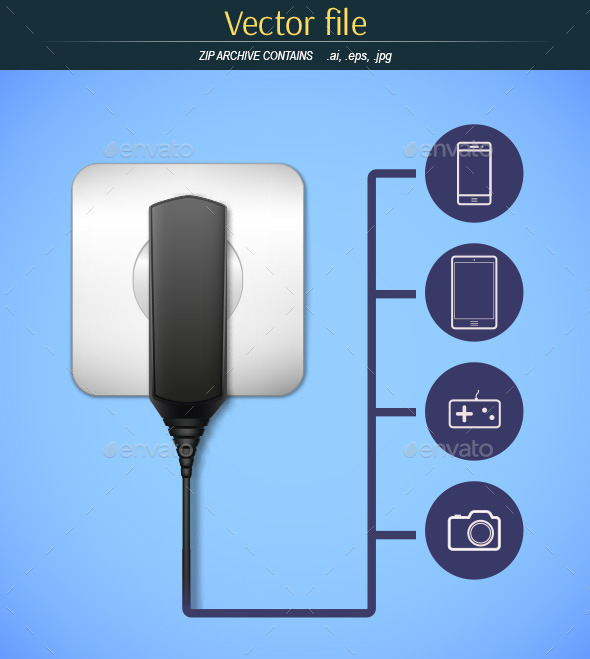 GraphicRiver Charger with Icons Gadgets 9329520