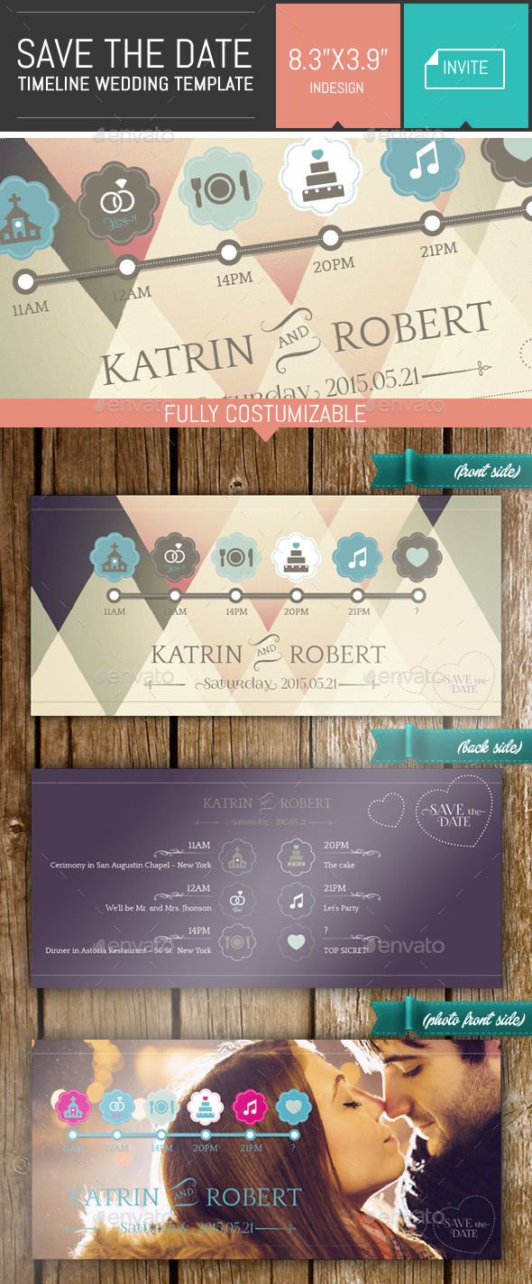 GraphicRiver Save the Date Timeline Wedding Invite Template 9292390