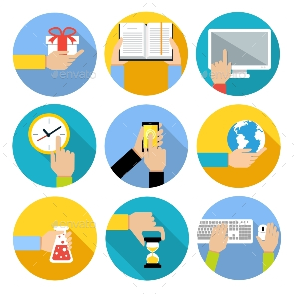 GraphicRiver Business Hands Icons 9330543