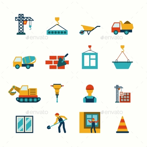 GraphicRiver Construction Flat Icons Set 9330607