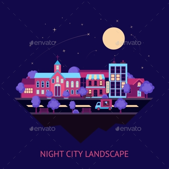 GraphicRiver Cityscape Night Background 9330645