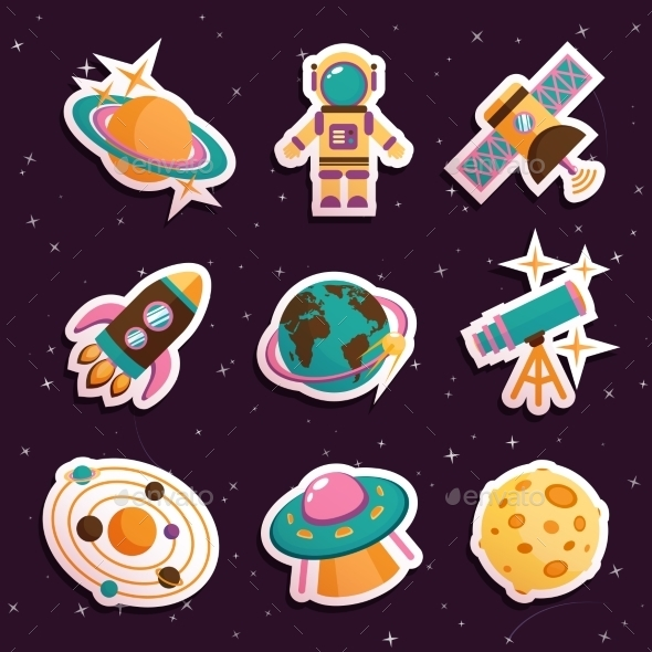 GraphicRiver Space Stickers Set 9330654