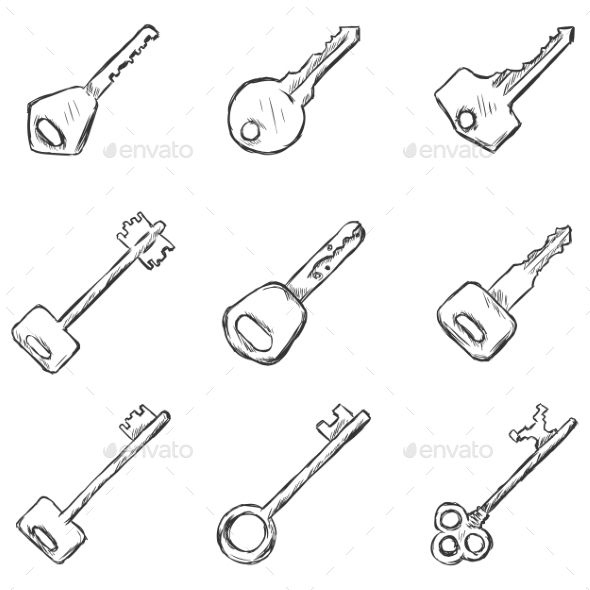 GraphicRiver Set of Sketched Keys Icons 9330725