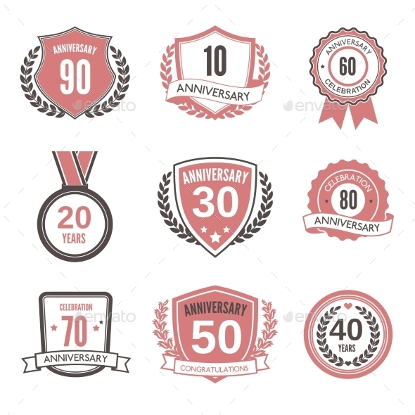 GraphicRiver Anniversary Label Set 9330860