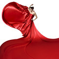 Young Beauty Woman In Fluttering Red Dress. Isolated On White Background. - PhotoDune Item for Sale