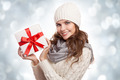 Young Happy Woman With A Gift. Christmas. - PhotoDune Item for Sale