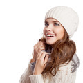 Surprised Girl.Winter Woman Isolated On White Background. - PhotoDune Item for Sale