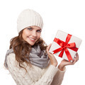 Young Happy Woman With A Gift. Christmas. Isolated. - PhotoDune Item for Sale