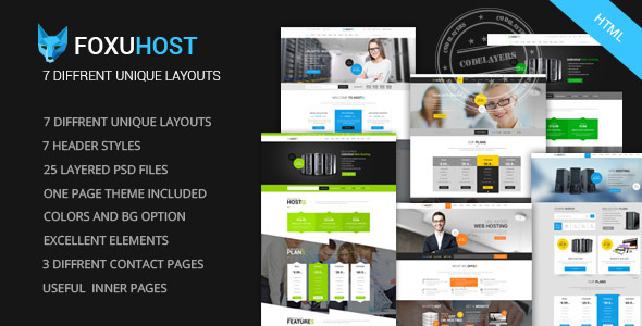 ThemeForest Foxuhost Web Hosting Responsive HTML5 Template 9289707