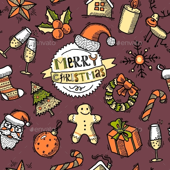 GraphicRiver Christmas colored seamless pattern 9331080