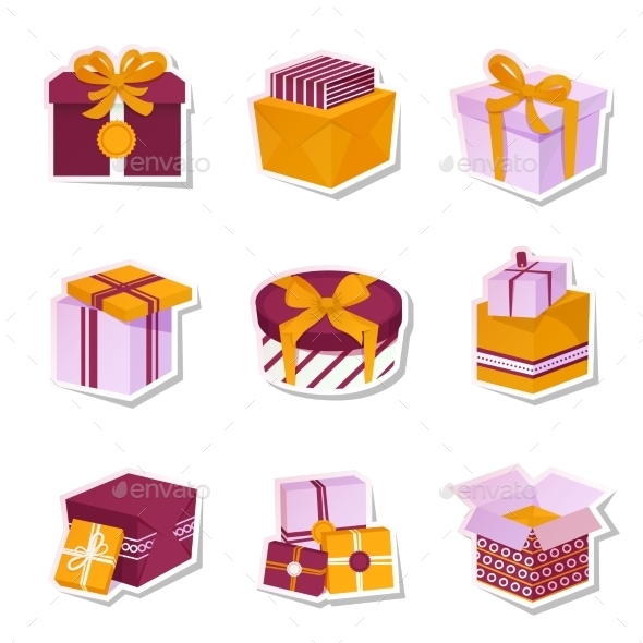 GraphicRiver Gift Box Stickers Set 9331097