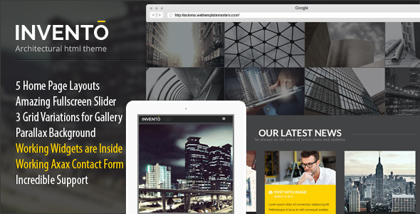 Invento Responsive Gallery/Architecture Template - Business Corporate
