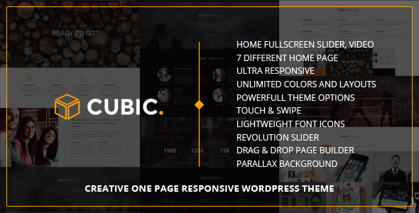 ThemeForest Cubic One Page Responsive WordPress Theme 9276997