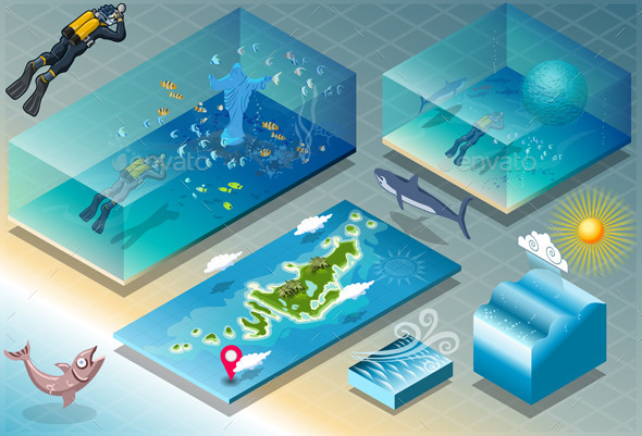 GraphicRiver Isometric Tile of Carribean Diving Holidays 9331711