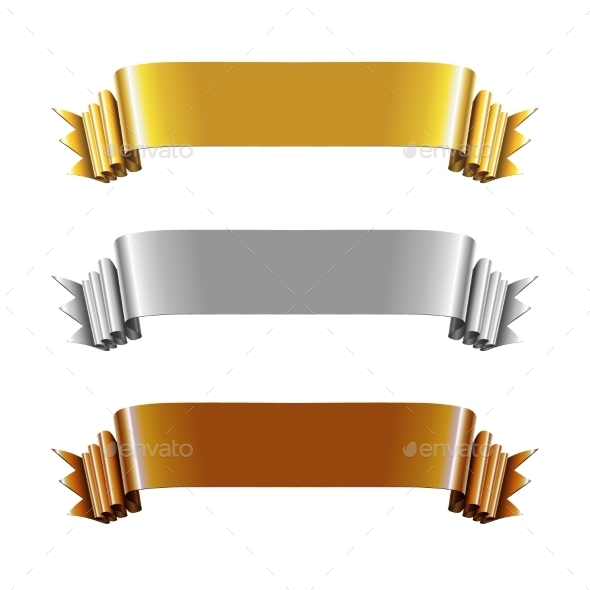 GraphicRiver Set of Gold Silver and Bronze Ribbons 9331949