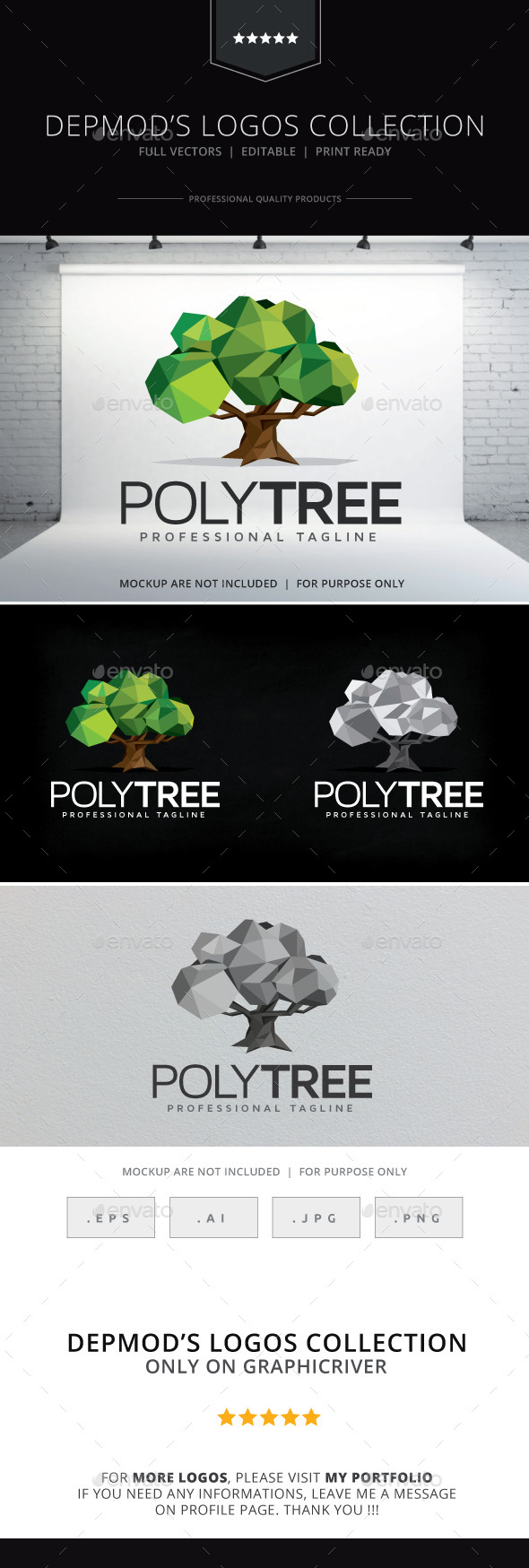 GraphicRiver Poly Tree Logo 9331964