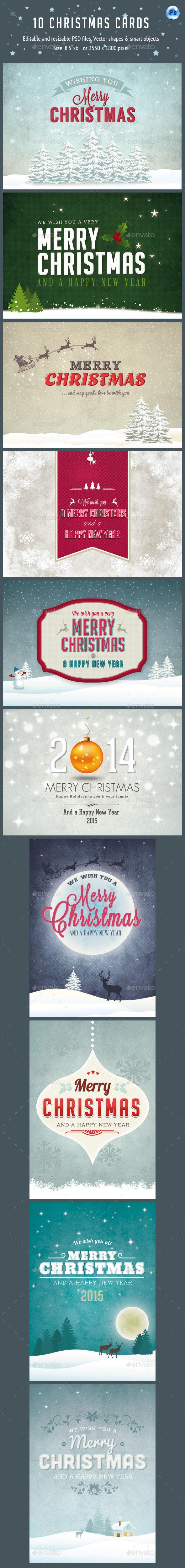 10 Christmas Cards PSD Vol.2