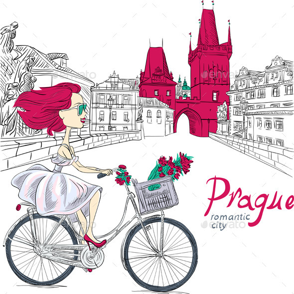GraphicRiver Girl on the Bike in Prague 9332395