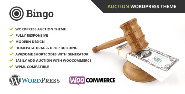 We are proud to introduce the Bingo – Auction Wordpress Theme – This auction theme offers a wide variety of options with all the necessary features