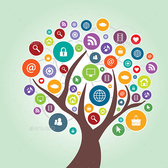 GraphicRiver Tree and Communication in Social Media 9332556