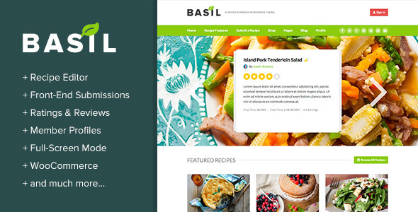 Basil Recipes - A Recipe Powered WordPress Theme