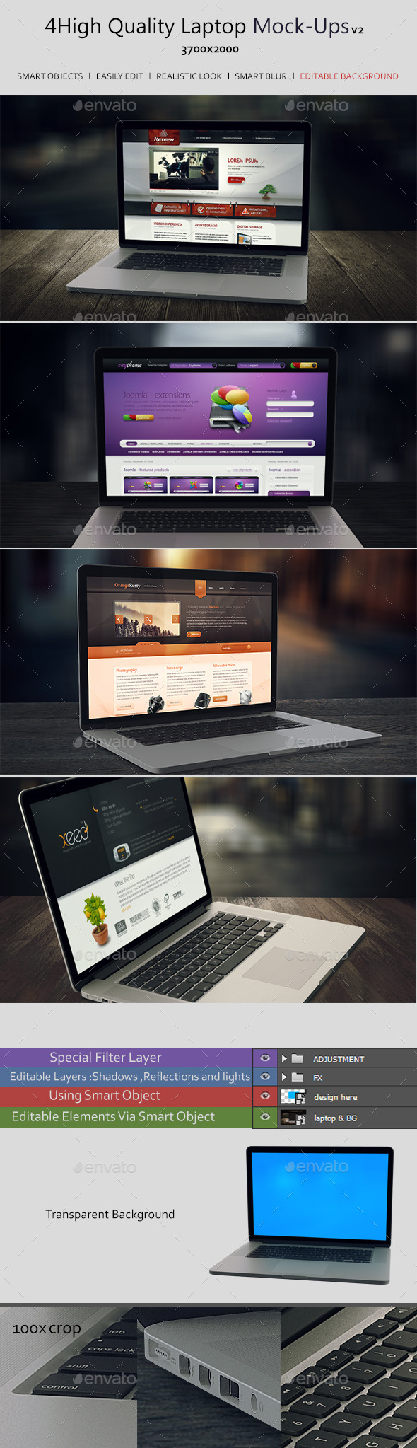 GraphicRiver 4 High Quality Laptop Mock-Ups v2 9298084