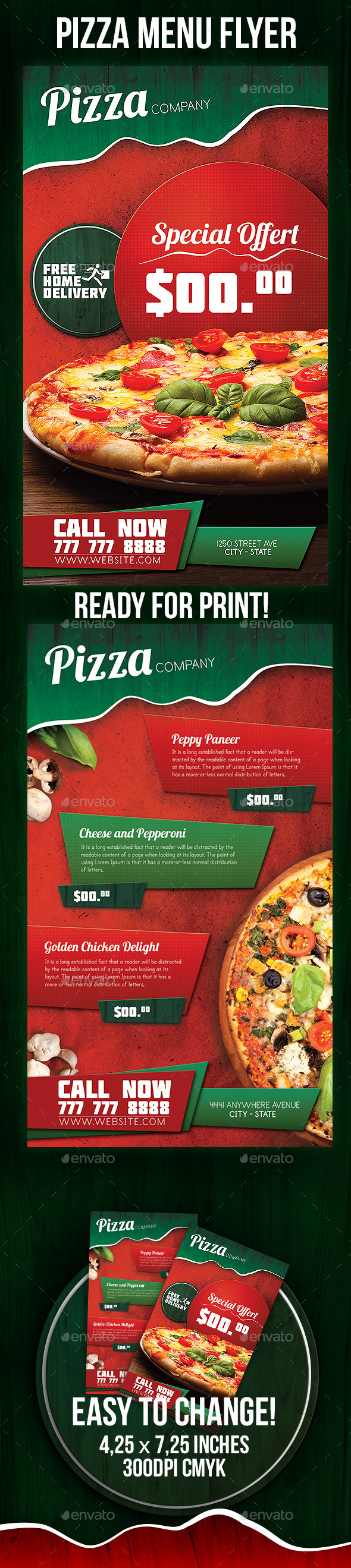 GraphicRiver Pizza Menu Flyer 9332720