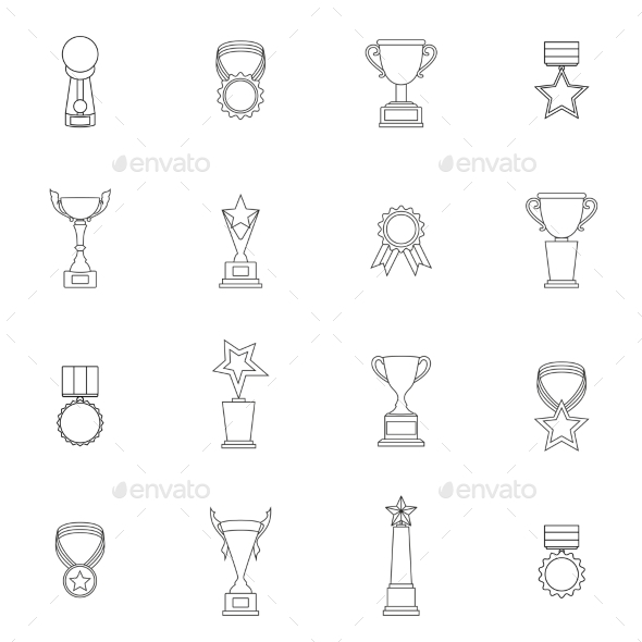 GraphicRiver Trophy Icons Set Outline 9332964