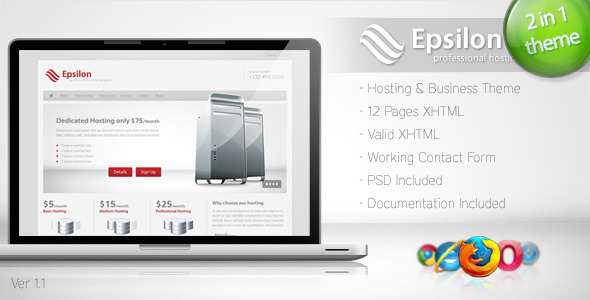 ThemeForest Epsilon Hosting and Business Template 117716