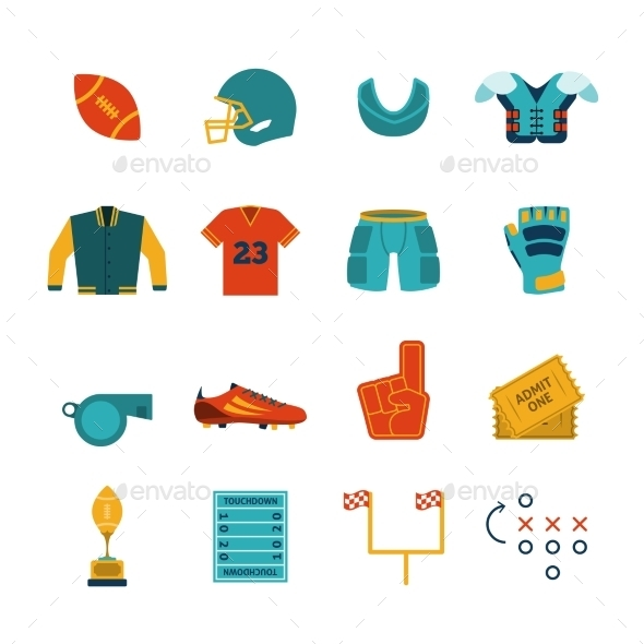 GraphicRiver Football Flat Icons Set 9333031